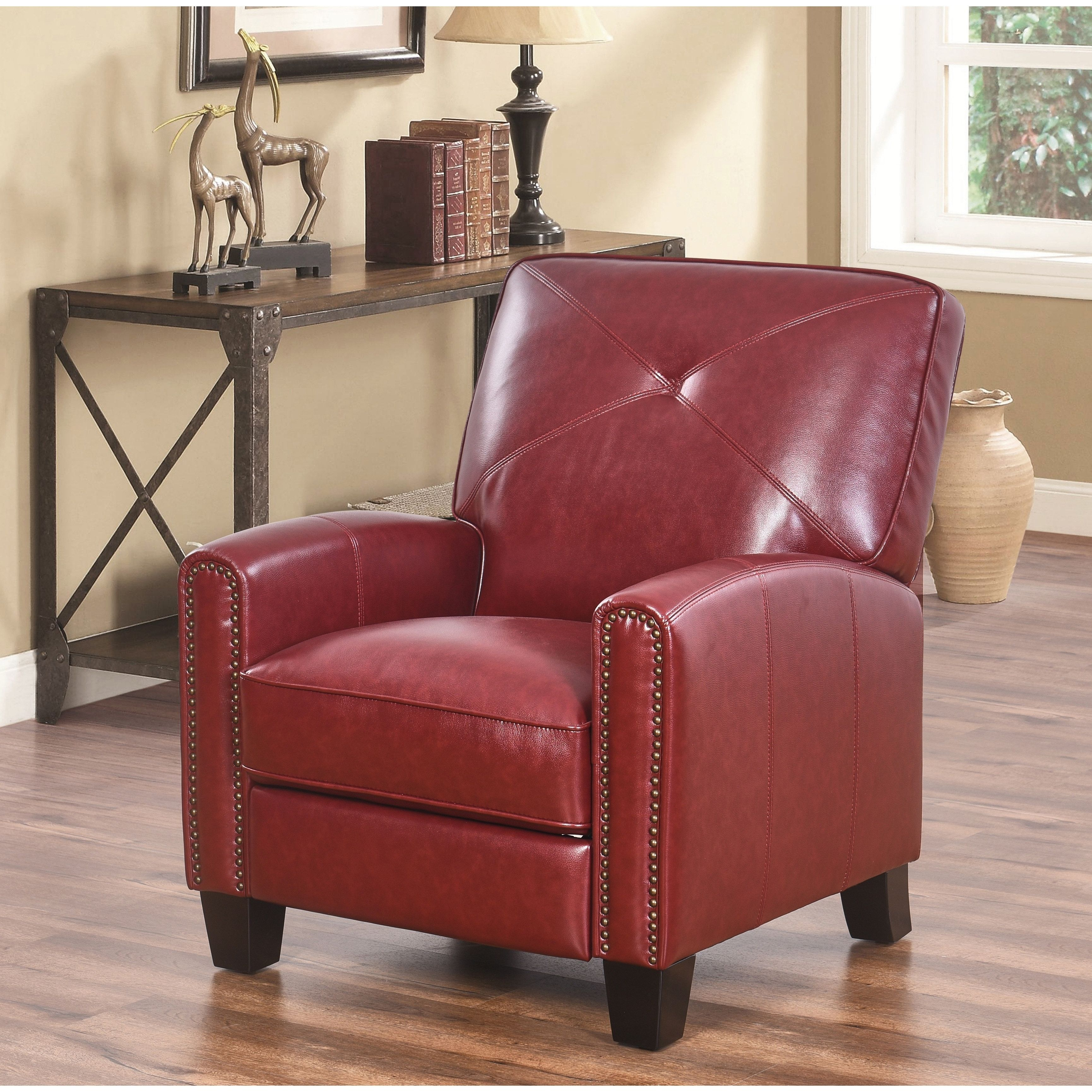 Super Abbyson Carlsbad Pushback Leather Recliner Brown Gmtry Best Dining Table And Chair Ideas Images Gmtryco