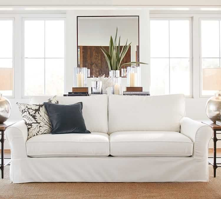 PB Comfort Square Arm Slipcovered 3 Piece L Shaped Sectional With Corner.  Furniture SlipcoversUpholstered SofaFabric ...