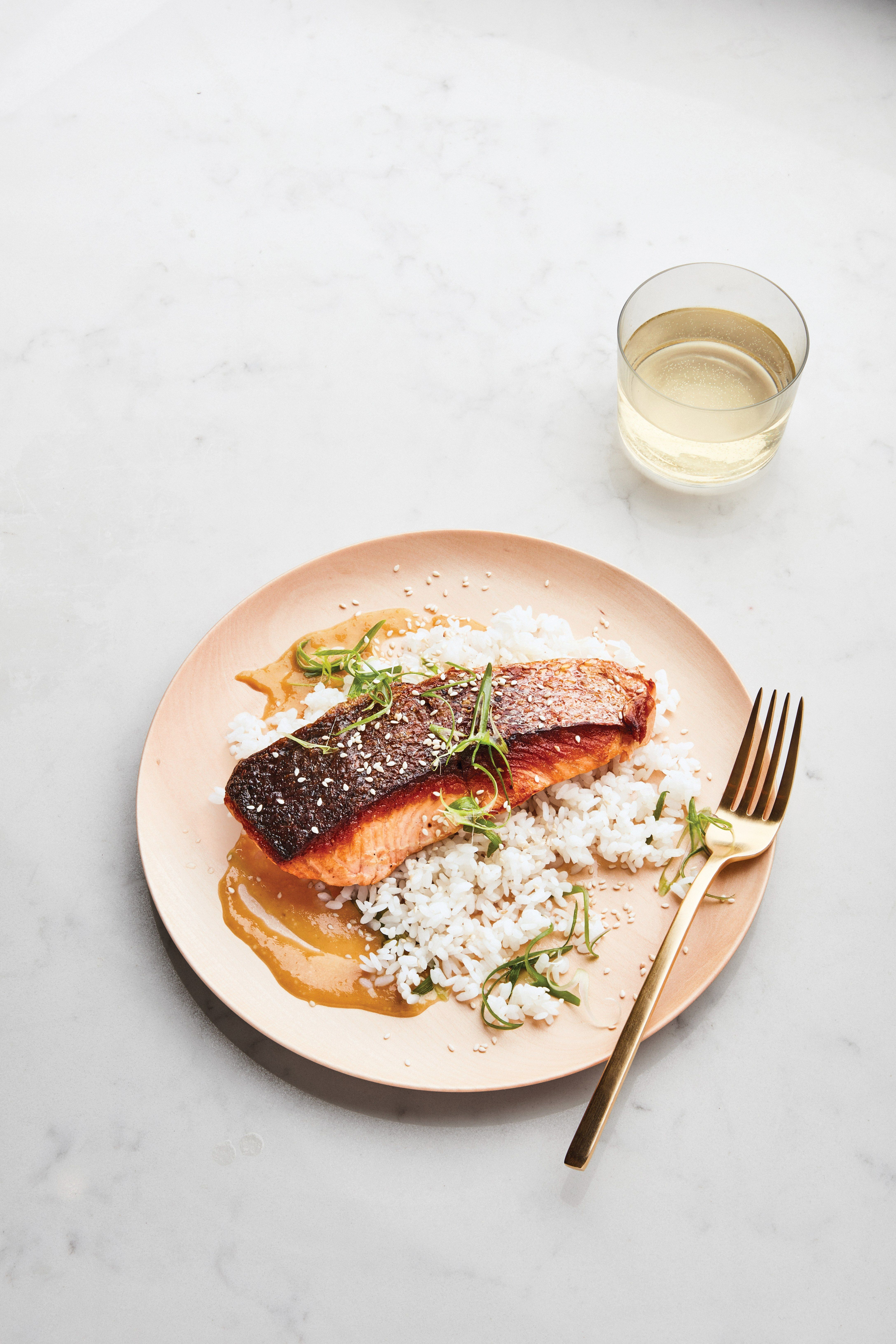 Seared Crispy Skin Salmon With Miso Honey Sauce Recipe Epicurious Recipe Cooking Salmon Salmon Recipes Honey Sauce