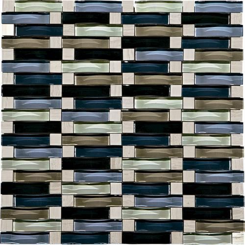 "mohawk phase mosaics stone and glass wall tile 5/8"" x 2"" wave at"