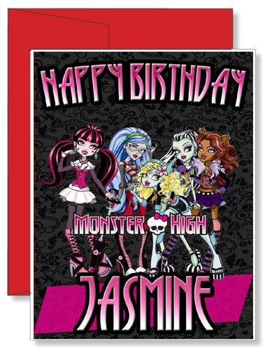 Personalized birthday greeting card monster high monster high personalized greetingbirthday card free personal message inside or you can chose to have it blank and write something yourself m4hsunfo
