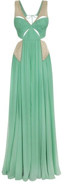 Matthew Williamson Soft Jade Crinkle Chiffon Embroidered Cut Out Gown
