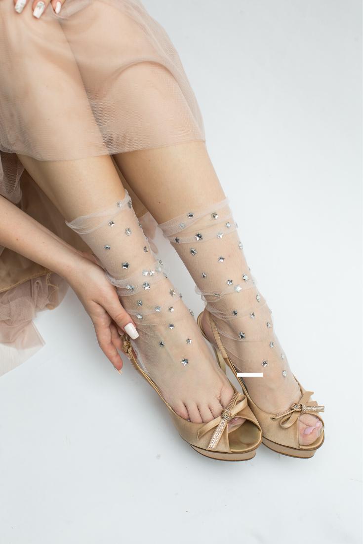 Christmas Gifts | White Star Crystal Tulle Socks | Glitter Sheer Stockings Lingerie, Pastel Goth, Instagram Fashion, Tights, Sheer Socks