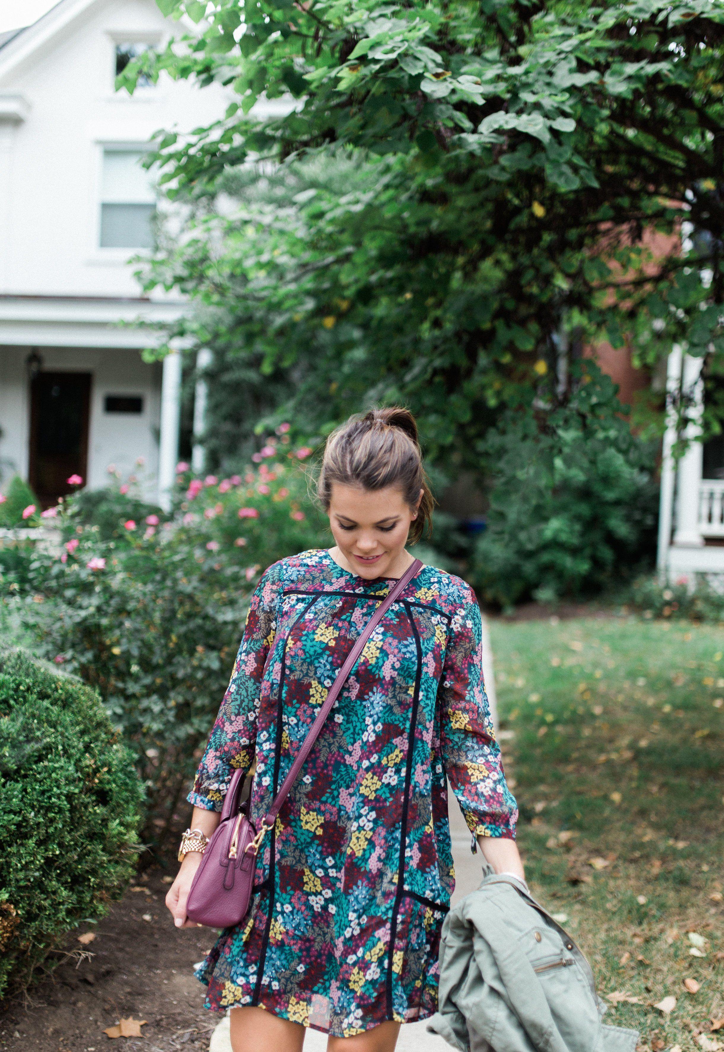 Fall Fashion via Glitter & Gingham // LOFT Floral Dress, Vera Bradley Leather Bag, Peep Toe Booties, Utility Jacket