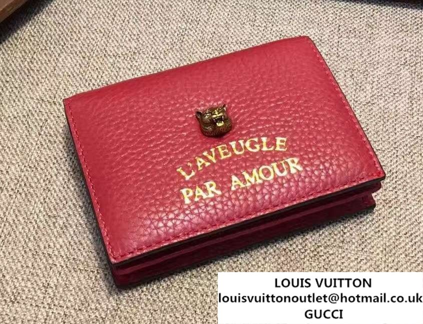 7245422a8bb Gucci Animalier Feline Head And L Aveugle Par Amour Card Case 453169 Red  2016
