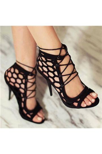246362ba7 Shoespie Lace-up Decorated Peep-toe Dress Sandals - Shoespie.com