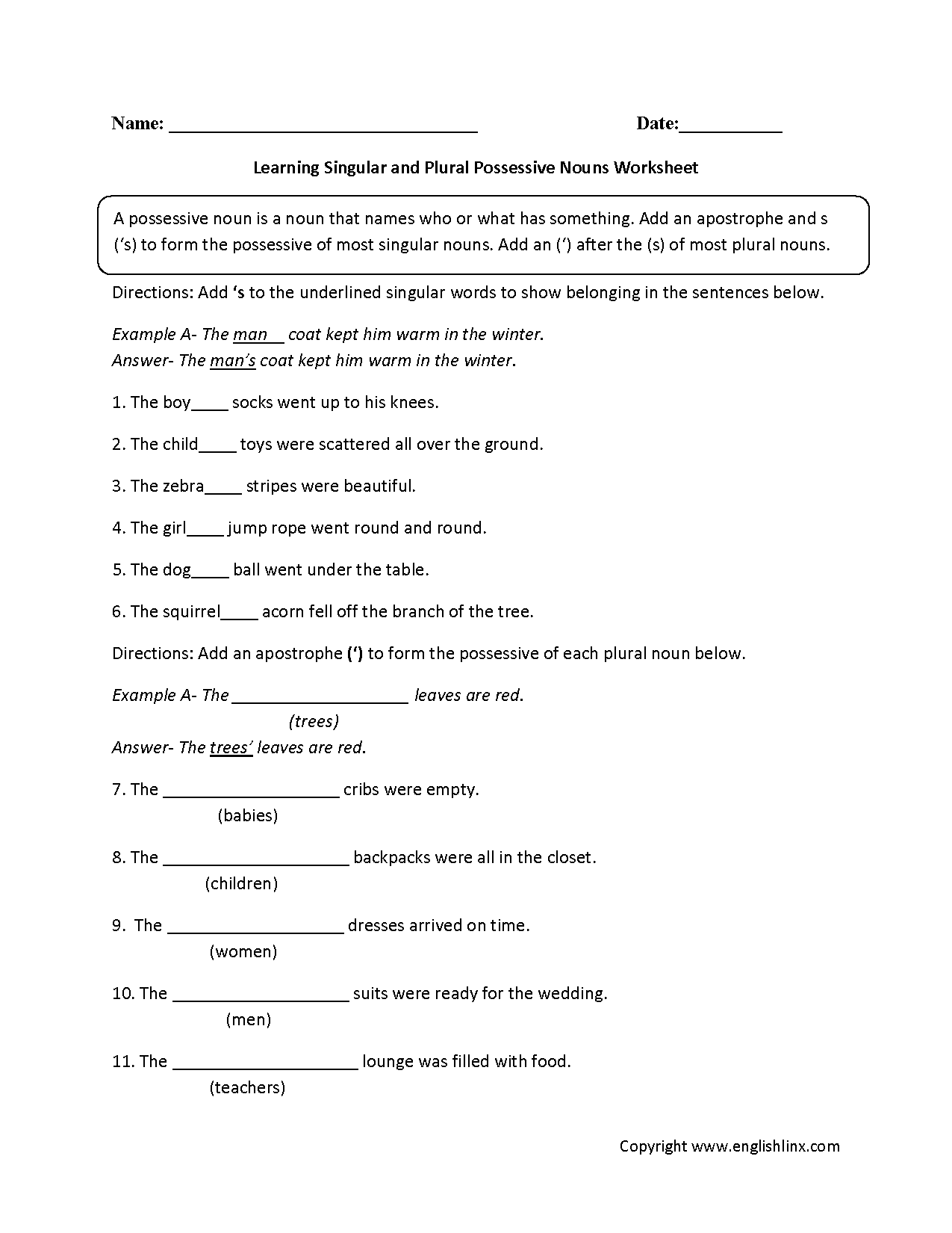 Learning Singular And Plural Possessive Nouns Worksheets