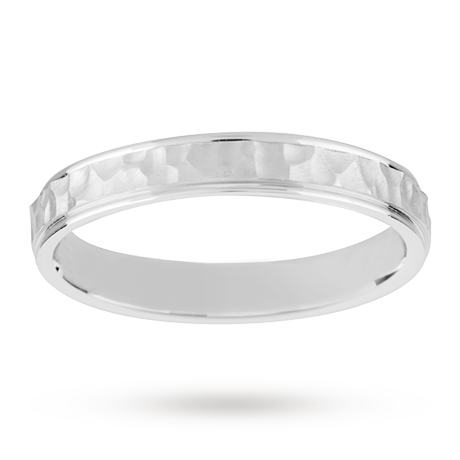 6mm Hammered Finish Gents Wedding Ring Set In 18 Carat White Gold By
