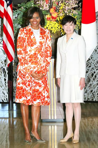 First Lady Michelle Obama looks amazing in a Roksanda Ilincic dress while meeting Akie Abe, the wife of Japanese Prime Minister.