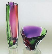 Essex Falls Vase & Bowl by Peter Ridabock hand blown glass ~  x