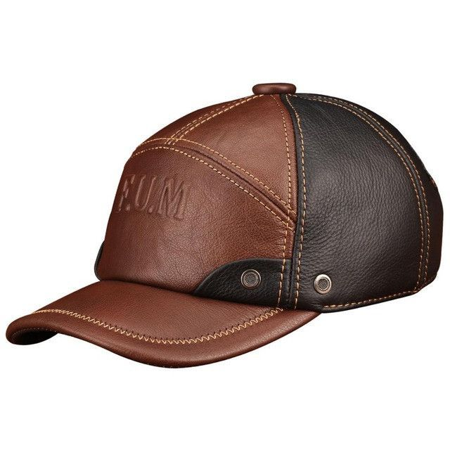5a4a72fbe60058 Men genuine leather baseball cap real cow leather caps hats ...