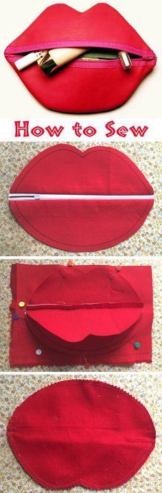 Red Lips Makeup/Cosmetic Bag. Photo Sewing Tutorial. Step by step. http://www.handmadiya.com/2016/01/makeup-bag-red-lips-tutorial.html