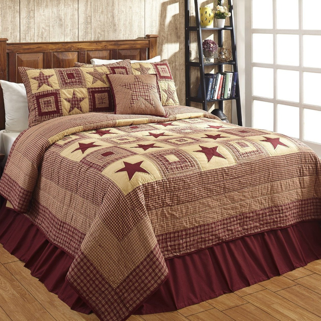 Colonial Star Burgundy Tan Quilted Bedding Set 3 Pc King