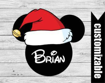 b57de3380b094 Mickey Ears Iron On T-shirt Santa Transfer Printable Disney Head Custom  Personalized Christmas Family Vacation couple matching shirts Minnie