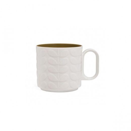 Orla Kiely Large Raised Stem Mug White Green