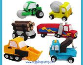 NEW Construction & Haulers  - PDF Pattern (Semi Truck, Log Load, Front Loader, Tow Truck, Cement Truck, Roller)
