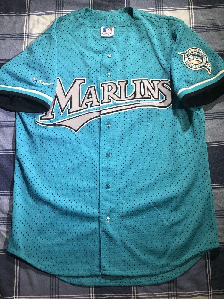 ec16340cb ... get vintage majestic florida marlins baseball jersey mens large batting  90s mlb usa 36.50 end date