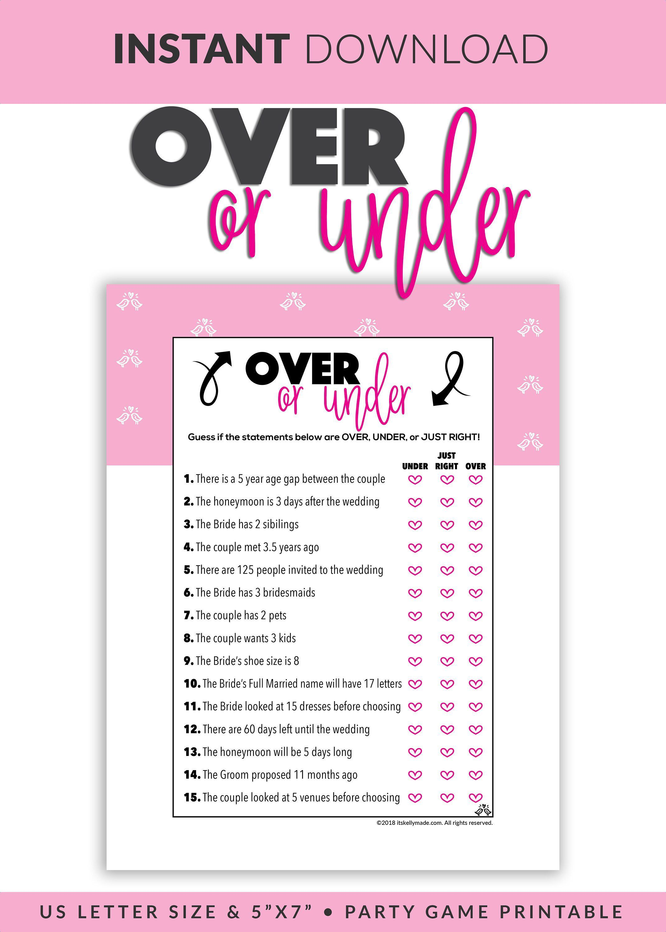Over Or Under Quiz Printable Over Or Under Game Bridal Etsy Bridal Shower Games Bachelorette Party Games Bachelorette Games