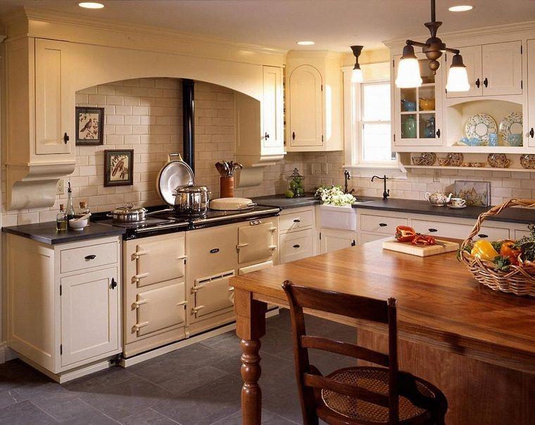 cucina-stile-inglese-tavolo-legno | Cucine rustiche nel 2019 ...