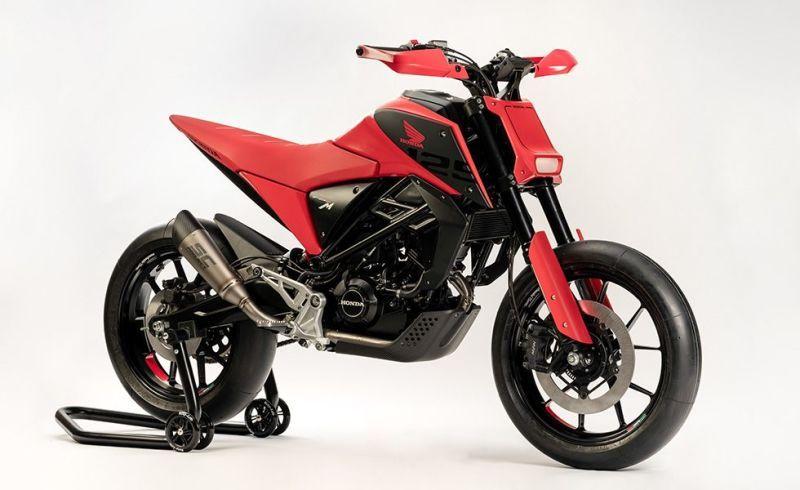 Honda S New Retro Future Small Bore Concept Bikes Are Tons Of Cool In A Tiny Package Honda Motorcycles Supermoto Honda