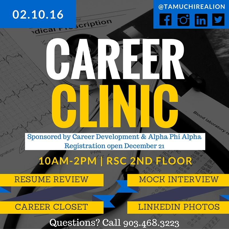 SAVE THE DATE Spring Career Clinic, 21016 Get a resume review - get resume from linkedin