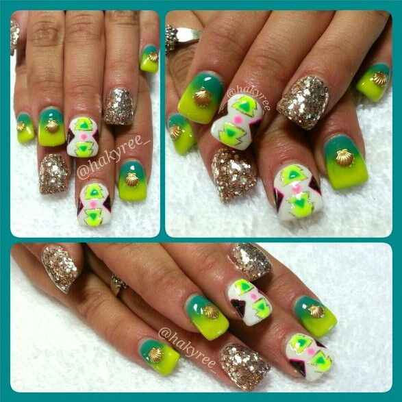 yellow & teal ombr with seashells