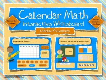 Wow, this is great!  Its an interactive powerpoint to use on my smart board!  It's aligned to the common core and totally interactive.  It even includes a sign in for the kids each day! I love this!!https://www.teacherspayteachers.com/Product/Calendar-Math-Interactive-Smart-Board-Editable-Powerpoint-School-Kids-Theme-2636302