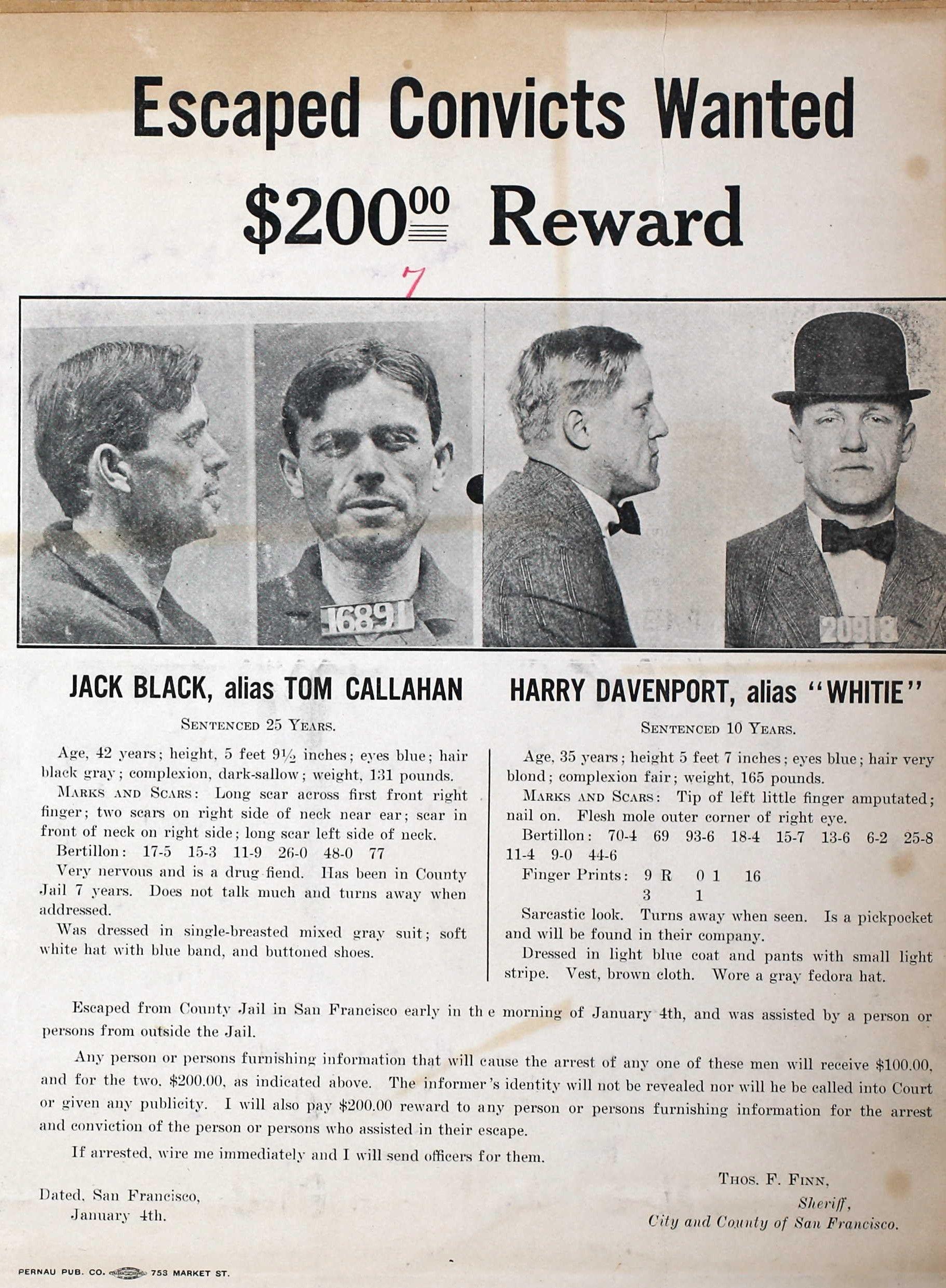 Jack Black & Harry Davenport Wanted Poster