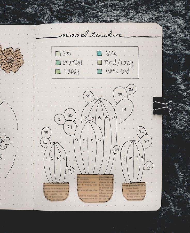 Bullet journal monthly mood tracker, cactus drawing. #augustbulletjournal