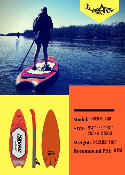 9'4 River Board   Shark SUPs advertisement materials   Inflatable
