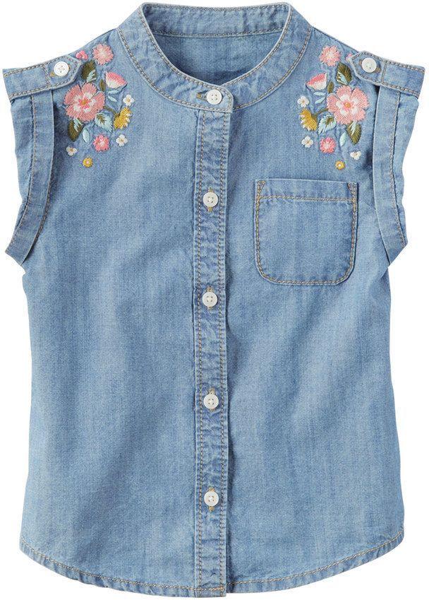 d6efd22ec4 Carter s Toddler Girl Embroidered Denim Shirt