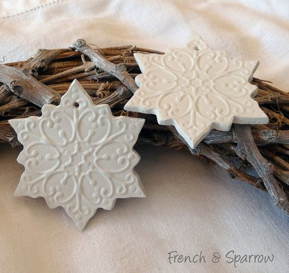 beautiful handmade snowflake clay tags should be quite easy to do in polymer clay or salt dough. Black Bedroom Furniture Sets. Home Design Ideas
