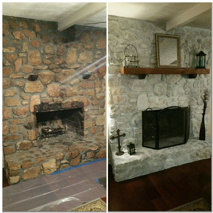 White wash rock fireplace 50 white primer 50water Brush on and