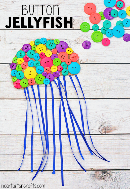 Colorful Button Jellyfish Craft For Kids Kids Craft Stars Crafts