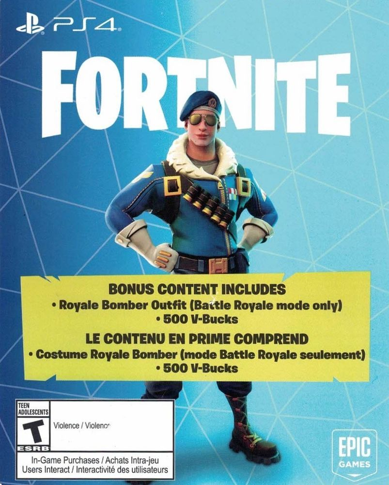 Fortnite Battle Royale Bomber Skin + 500 Vbucks DLC Download
