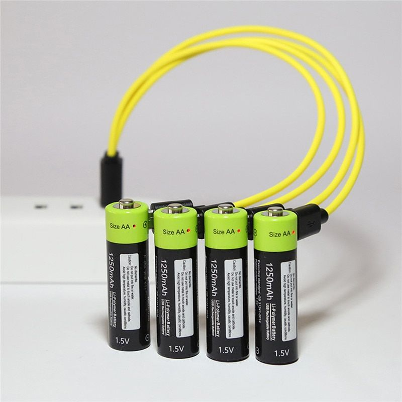 4pcs Aa Usb Rechargeable Lithium Battery Set With Micro Usb Cable Rechargeable Batteries Micro Usb Cable Lithium Battery Charger