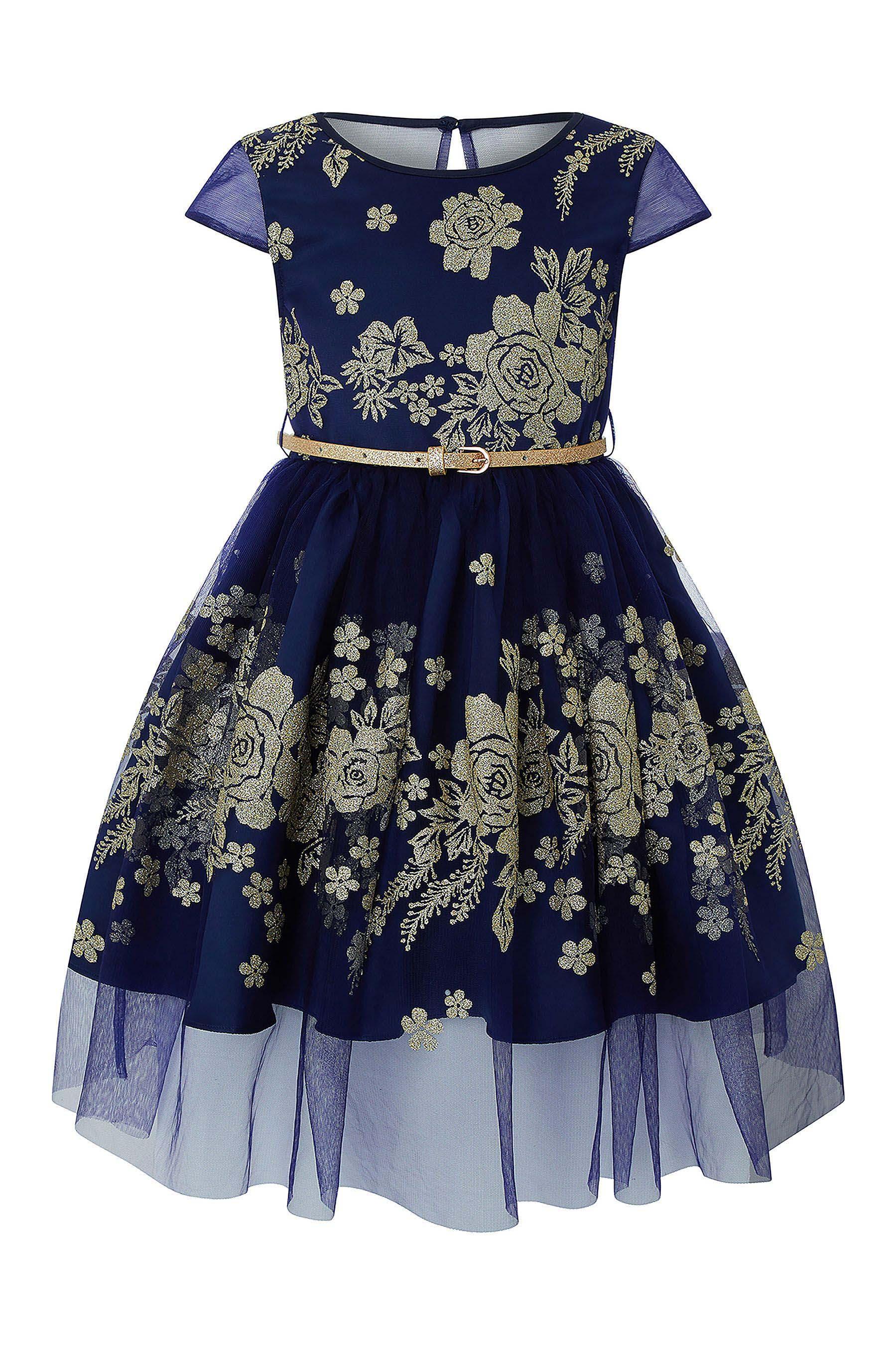 2a76dc94b Girls Monsoon Amarylis Glitter Dress - Blue