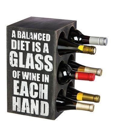 Love+this+'Balanced+Diet'+Wooden+Block+Wine+Bottle+Holder+on+#zulily!+#zulilyfinds