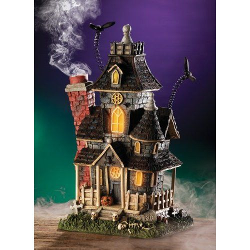 Haunted Smoking Mansion Lighted Halloween Incense Burner By - halloween decorations haunted house