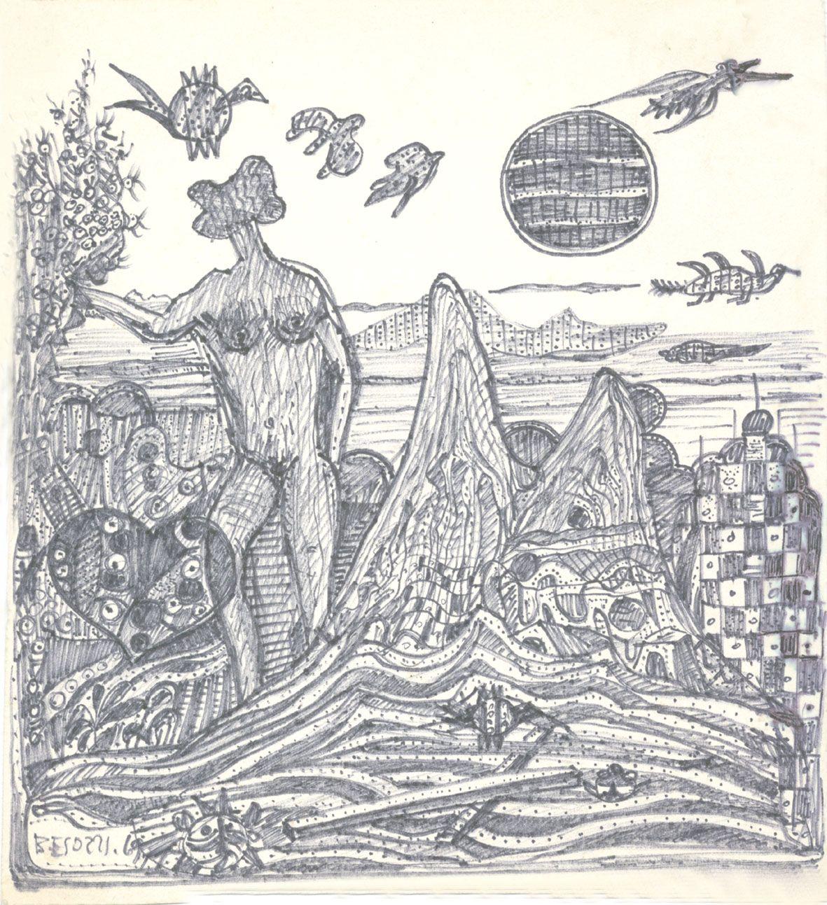 E. Besozzi pitt. 1969 Paesaggio extraterrestre pennarello su carta cm. 22,5x20,5 arc. 679