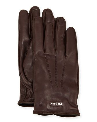 Napa Leather Gloves w/ Logo, Brown by Prada at Neiman Marcus.