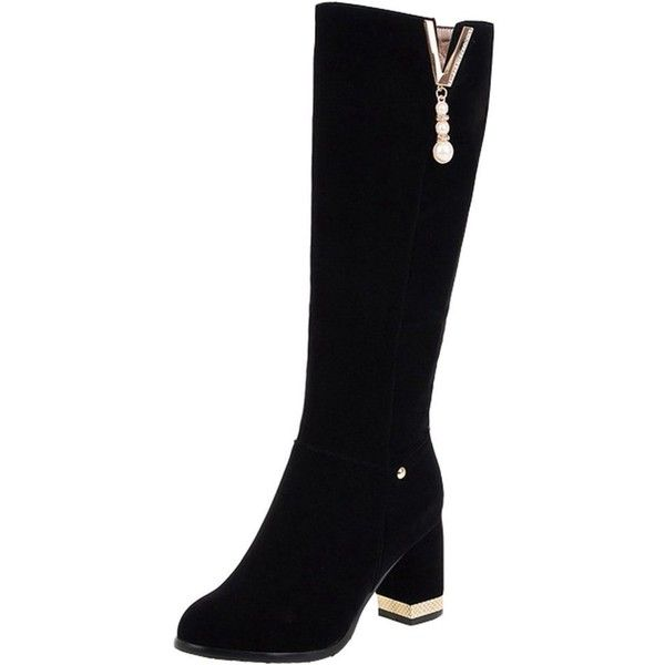 Women's Elegant Riding Faux Suede Mid Chunky Heel Long Boots