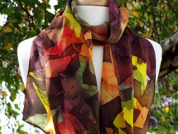 Women's Batik Silk Scarf Fall Leaves Scarlet by FlingamoScarves, $40.00
