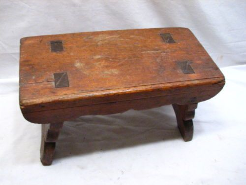 Antique Primitive Wooden Mortised Milking Foot Stool Bench