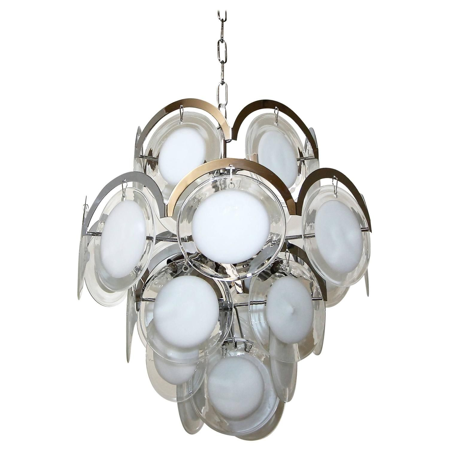 Vistosi chandelier with clear and white glass discs pendant