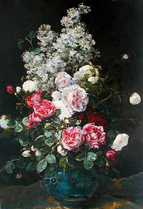 Victor Leclaire Bouquet of Flowers 19th century Via: StillifeQuickheart