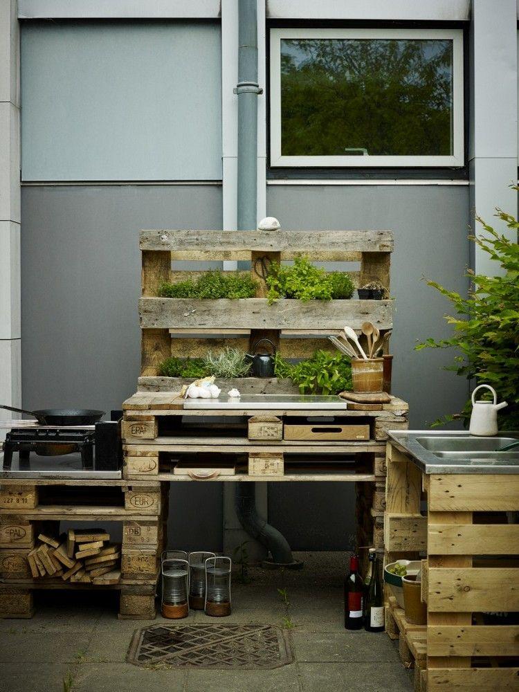 Outdoor Küche aus Paletten selber bauen Balkon Pinterest - k che aus paletten bauen