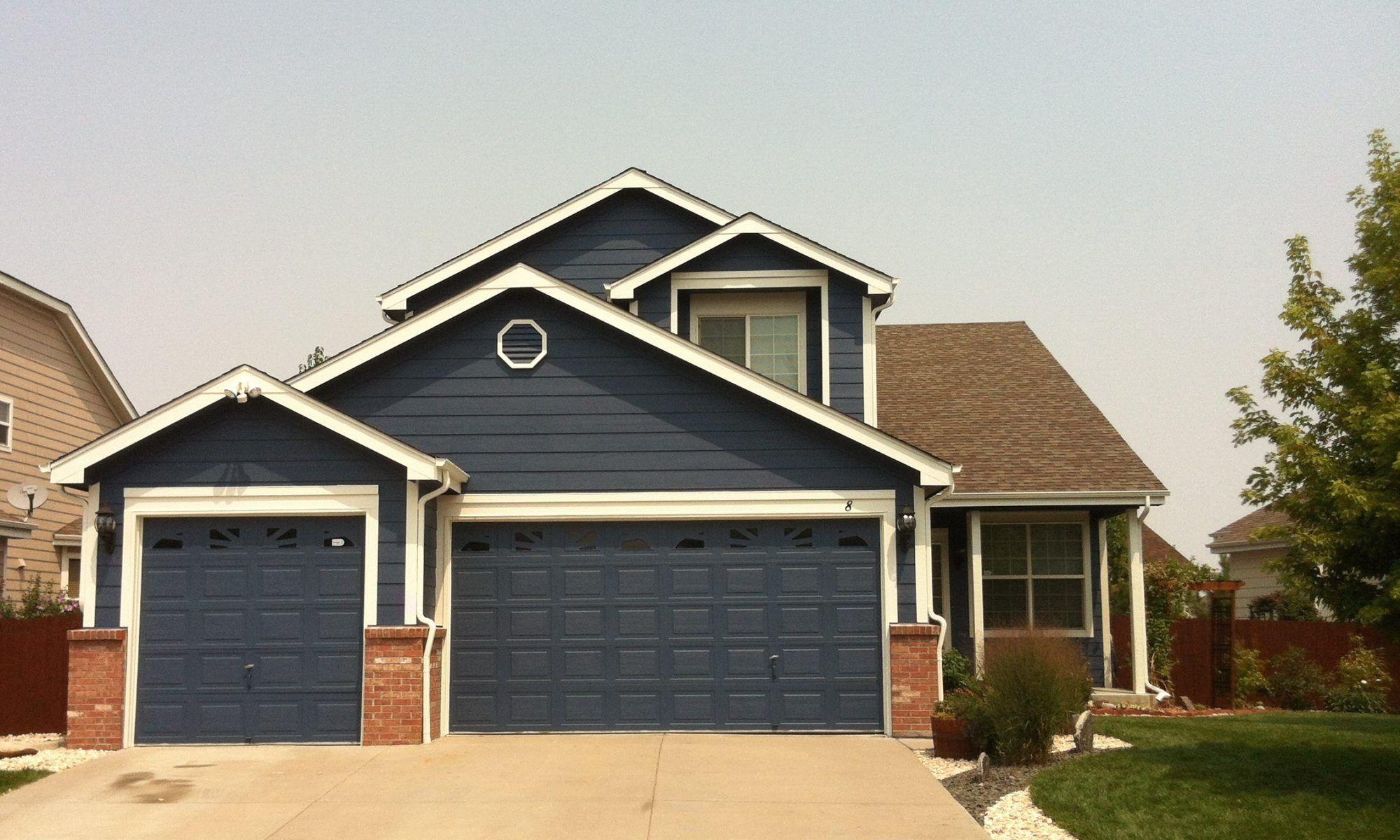 Dark Blue House And Garage 1000 In 2020 Dark Blue Houses Blue
