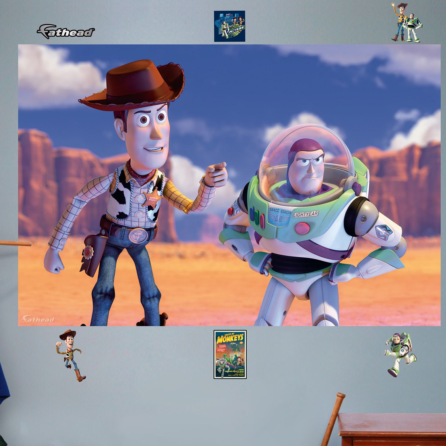 Disney woody and buzz wall mural disney walls pinterest wall disney pixar toy story woody and buzz lightyear wall decals by fathead multicolor amipublicfo Image collections
