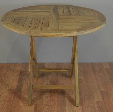 Round Patio Folding Table From Solid Teak Wood Products - Solid teak outdoor table